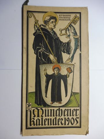 Manz (Verlag), G. J., Otto Hupp (Wappenillustr.) Otto Hupp (Illustr.) u. a.: Münchner Kalender 1905 *.