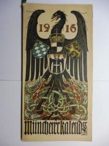 Manz (Verlag), G. J., Otto Hupp (Wappenillustr.) Otto Hupp (Illustr.) u. a.: Münchner Kalender 1916 *.
