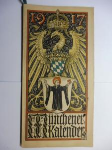 Manz (Verlag), G. J., Otto Hupp (Wappenillustr.) Otto Hupp (Illustr.) u. a.: Münchner Kalender 1917 *.