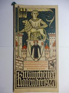 Manz (Verlag), G. J., Otto Hupp (Wappenillustr.) Otto Hupp (Illustr.) u. a.: Münchner Kalender 1927 *.