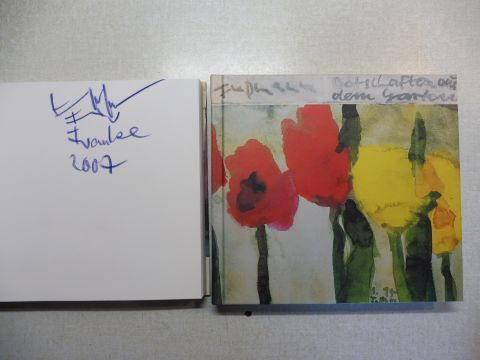 Fußmann, Klaus und Josef Peerlings: Klaus Fußmann - Botschaften aus dem Garten. + AUTOGRAPH *. (Zu Gedichten von Gottfried Benn, Rose Ausländer, Fr. Rückert, Christian Wagner, R. M. Rilke u.a.).
