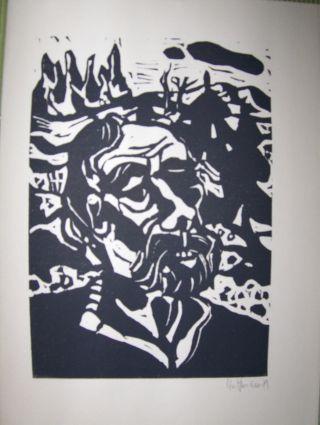 """ORIGINAL-Kl. GRAPHIK aus der ILLUSTRATION 63 : Original-Linolschnitt von Flora Hoffmann zu C. E. Ramuz """"Das große Grauen in den Bergen"""". Mit Bleistift unten rechts handsigniert u. datiert."""