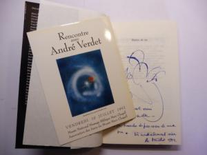 Verdet, Andre und Francoise Armengaud (Textes reunis): PIERRES DE VIE - Hommage a Andre Verdet. + AUTOGRAPH *. Collectif: texte reunis (Pierre Cabanne, Jacques Prevert, San Lazzaro, Giuseppe Ungaretti u.v.a.).