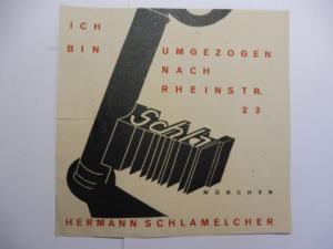 """Schlamelcher *, Hermann: Original-Holzschnitt (2farb.) im Avantgarde-Stil um 1925 (?) von HERMANN SCHLAMELCHER *. """"ICH BIN UMGEZOGEN NACH RHEINSTR. 23 MÜNCHEN""""."""