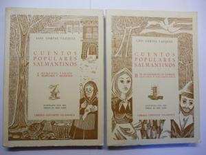 Vazquez, Luis Cortes und Felix Lopez (Illustr.): CUENTOS POPULARES SALMANTINOS (Salmantinos Populäre Geschichten *). 2 Vol. 2 Bände. Komplett. I: HUMANOS VARIOS, EJEMPLARES Y RELIGIOSOS // II: DE ENCATAMIENTO, DE ANIMALES. ESTUDIO Y VOCABULARIO. ILLUST...
