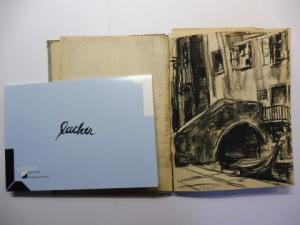 Schüller (Galerie)Dr. Ina Dreyer Volker Rebhan (Fotos) u. a.: MAX LACHER 1905 MÜNCHEN - 1988 MÜNCHEN *. ORIGINAL.-REISESKIZZENBUCH um 1925 MIT 12 KOHLEZEICHNUNGEN u. 1 BLEISTIFTZEICHNUNG (pro Blatt 21 x 15,5 cm) : REISE NACH VENEDIG. + 2) AUSSTELLUNGSK...