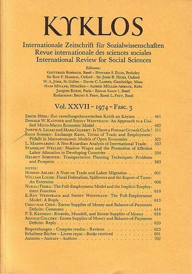 Kyklos: Kyklos. Internationale Zeitschrift für Sozialwissenschaften - Revue internationale des sciences sociales - International Review for Social Sciences. Vol. XXVII - 1974 - Fasc. 3.