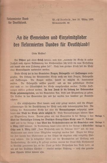Reformierter Bund für Detuschland: An die Gemeinden und Einzelmitglieder des Reformierten Bundes für Deutschland!