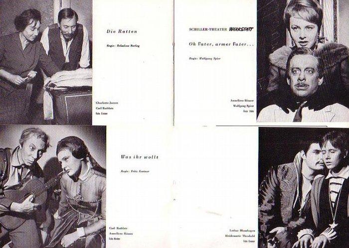 "Shakespeare ; Kopit, Arthur L. ; Hauptmann, Gerhart ; Walser, Martin. - Programm-Hefte Schillertheater Berlin. Berlin- Boleslaw Barlog- Intendanz- (Hrsg.) Heft 124 ""Eiche und Angora"" , Heft 126 ""Was ihr wollt"" , Heft 127 ""Die Ratt"