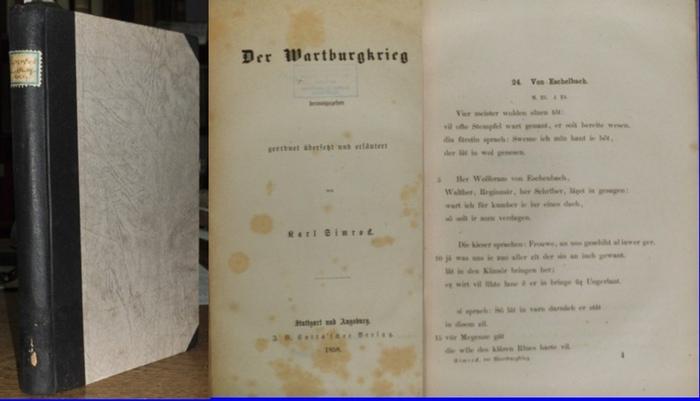 Simrock, Karl (Hrsg.): Der Wartburgkrieg. Geordnet, übersetzt und erläutert von Karl Simrock.