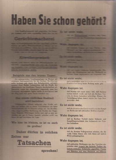 BerlinArchiv herausgegeben von Hans-Werner Klünner und Helmut Börsch-Supan: Haben sie schon gehört? NS-Flugblatt zur Verteidigung Berlins 1945. (Berlin-Archiv, hrsg.v. Hans-Werner Klünner und Helmut Börsch-Supan).