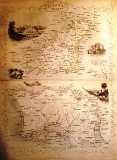 Channel Islands. - Martin, R.M. (Hrsg.) - Winkle, H. (ill) / Radclyffe, E. (engraved) / Rapkin, John (The Map Drawn & Engraved by): Grenzcolorierter Stahlstich (steal engraving) Channel Islands. Mit weiteren fünf BildStahlstichen 1) St. Peters Port. 2)...
