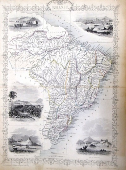 Martin, R.M. (Hrsg.) - Winkles, H. (ill) / Lacey, W. (engraved) / Rapkin, John (The Map Drawn & Engraved by): steal engraving / Grenzcolorierter Stahlstich Brazil. Mit weitern fünf BildStahlstichen 1) Boats on the Rio Negro. 2) St.Catharina. 3) Monte V...