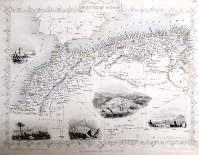 Martin, R.M. (Hrsg.) - Winkles, H. (ill) /Greatbach,G. (engraved) / Rapkin, John (The Map Drawn & Engraved by): steal engraving / Grenzcolorierter Stahlstich Northern Africa. Mit weiteren 5 Bildstahlstichen 1)Mogador. 2) Marocco. 3) Constantine. 4) Algier