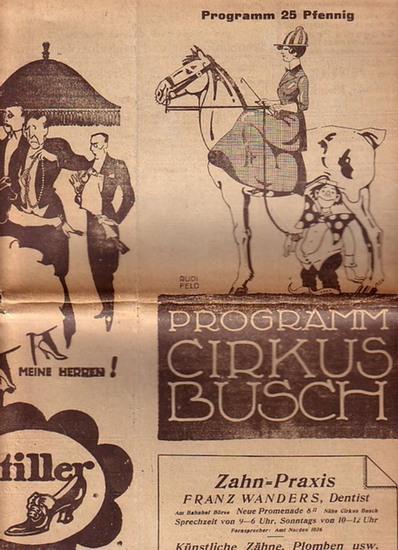 Circus Busch. - Cirkus Busch. Programm mit 15 Nummern.