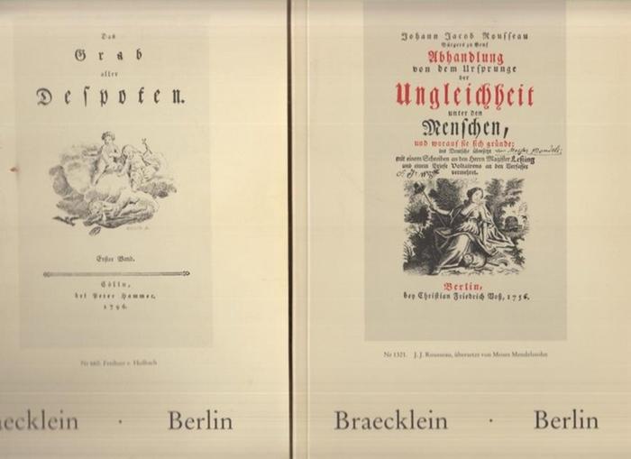 Antiquariat Braecklein, Wolfgang: Katalog 28 und 30 : Aufklärung und französische Revolution. Teil: A-K und Zeitschriften, Teil II: L-Z und Nachtrag. 1676 Positionen. 2 Bde.