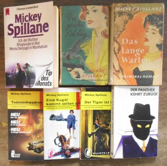 Spillane, Mickey (Mike Hammer / Cat Fallon / Gillian Burke / Tiger Mann): Konvolut mit 9 Titeln in 7 Büchern. Enthalten sind: 1) Todesschwadron (Gillian Burke). 2) Eine Kugel kommt selten allein - Zwei Kriminalstories (Cat Fallon). 3) Der Tiger ist los...
