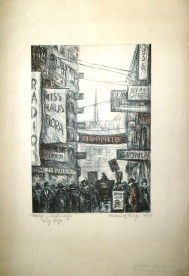 Krüger, Hellmuth: Handcolorierte Original Lithographie 'Verkehr zur Mustermesse.' Signiert. 0