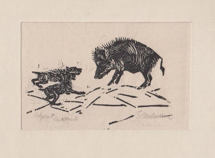 Hartmann, F.: Original Holzschnitt Handdruck. ohne Titel [Wildschwein mit zwei Hunden]. Signiert. 0
