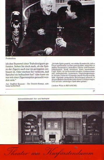 """Thompson, Ernest ; Taylor, Samuel ; Goetz, Curt ; Shaffer, Anthony. -Theater und Komödie am Kurfürstendamm- Jürgen Wölffer- Intendanz (Hrsg.): Deutsche Erstaufführung """"Das Haus am See"""" ; Deutsche Erstaufführung """"Champagnerkomödie"""" ;... 0"""