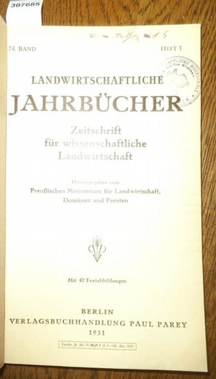 Landwirtschaftliche Jahrbücher. - Preußisches Ministerium für Landwirtschaft, Domänen und Forsten (Hrsg.). - Krallinger, H.F. / Dragan, J.C. / Prof. Tiemann / Dipl.-Landw. Rehm / Diener, H.O. / Zörner, Hans / Sievers, Werner / Deichmann, E.: Landwirtsc... 0