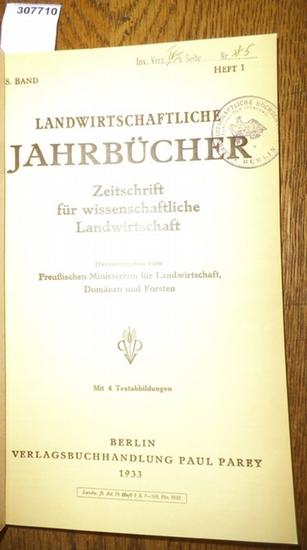 Landwirtschaftliche Jahrbücher. - Preußisches Ministerium für Landwirtschaft, Domänen und Forsten (Hrsg.). - Ritter,Kurt / Vilsmeier, G./ Andersen, K.Th./ Rothes, G./ Meinhold,W./ Gneist, K./ Boekholt, K./ Niklas,H./ Miller,M. /Frey,A.: Landwirtschaftl... 0