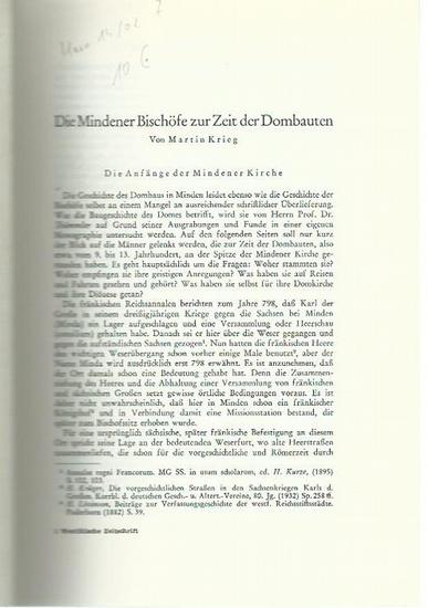 Minden. - Krieg, Martin: Die Mindener Bischöfe zur Zeit der Dombauten. 0