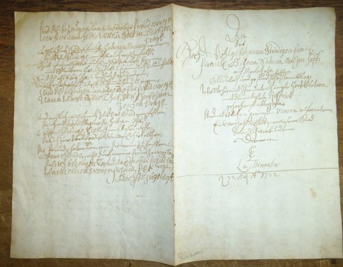 Imhoff (Imhof), Helena Sabina. - Im-Hof. - Nürnberg. - Handschriftliches Gedicht zum Namenstag für das Fräulein Helena Sabina von Imhoff, datiert vom 22. Mai 1722. Die erste Seite mit einleitender Vorrede, das zweite Blatt beidseitig mit 5 jeweils 8zei... 0