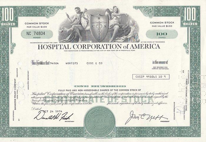 Hospital Corporation of America. - Certificate of Stock ( Aktie ) 100 Shares. Wertpapier Typ: Namensaktie. Wertpapier Art: Stammaktie. 0
