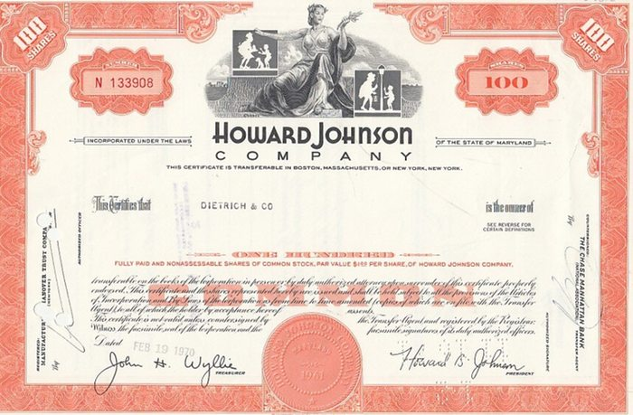 Howard Johnson Company. - Certificate of Stock ( Aktie ). 100 Shares. 0