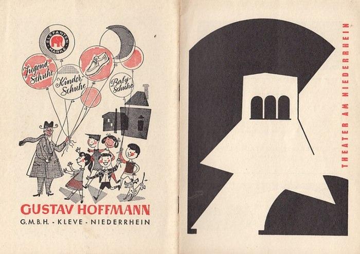 """Theater am Niederrhein-Intendanz: J. Wirtz- (Hrsg.): Blätter des Theaters am Niederrhein-Kleve. Spielzeit 1955/1956. Programmheft zu """"Die Meuterei auf der Caine"""" von Herman Wouk. 0"""