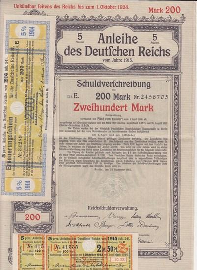 Schuldverschreibung. - 5 Prozent Anleihe des Deutschen Reichs vom Jahre 1915. Schuldverschreibung über 200 (zweihundert) Mark Reichswährung. Lit. E, Nr. 2456705. Verzinslich mit Fünf vom Hundert vom 1. April 1916 ab. Unkündbar seitens des Reichs bis zu... 0