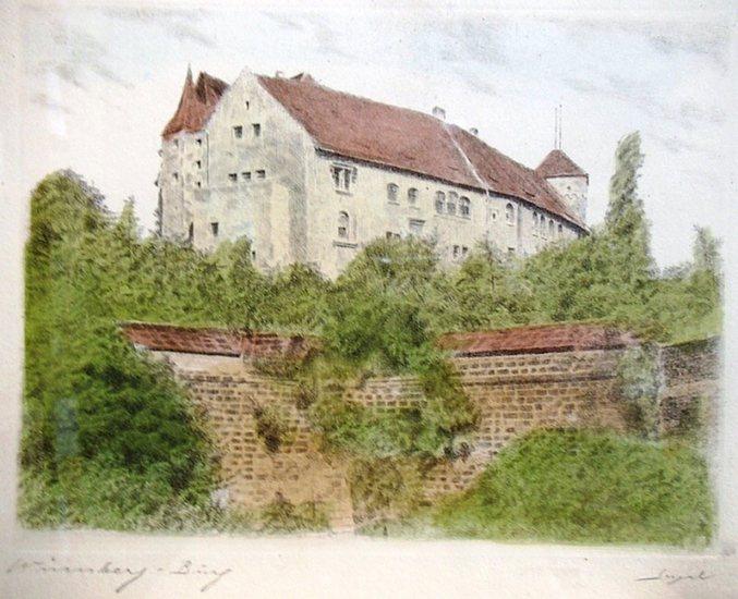 Nürnberg. - Anonym. - Original-Radierung, handcoloriert. Nürnberg - Burg (von Westen gesehen). Signiert. 0