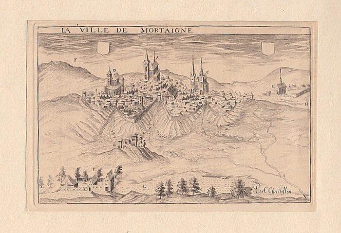 Chastillon, C. [Claude]. (par): Gravure: La Ville de Mortaigne. -- Kupferstich. La Ville de Mortaigne. 0