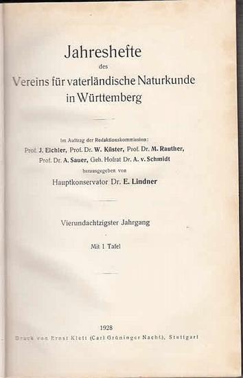 Jahreshefte Verein für vaterländischer Naturkunde in Würtemberg. - E. Lindner (Hrsg.). - M. Frank / F. Haag / W. Kreh / L. Pilgrim und W. Wundt / L. Volz / G. Wagner: Jahreshefte des Vereins für vaterländische Naturkunde in Württemberg. Vierundachtzigs...