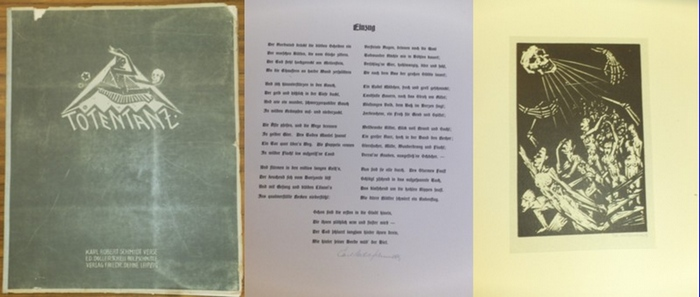 Karl Robert Schmidt und Dollerschell, Eduard : Totentanz. - Mit 8 signierten Original-Holzschnitten von Eduard Dollerschell und 8 signierten Textblättern mit Versen von Karl Robert Schmidt.