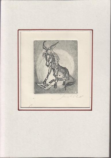 Witt, Jens: Der grüne Esel. Später überbearbeitete Bauchpartie des Esels. - Original-Radierung Probeabzug Nr.1 mit scharfem Plattenpreßrand (Nicht in den Zyklus der 7 Radierungen des Buches aufgenommen). 0