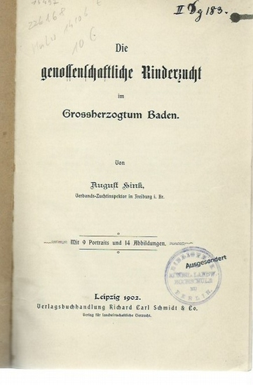 Lewite, Maxim: Zur Frage des Zusammenhanges zwischen Wetter, Mineralstoffgehalt der Futterpflanzen und Knochenbrüchigkeit des Rindes. Dissertation an der Universität Leipzig, 1907. 0
