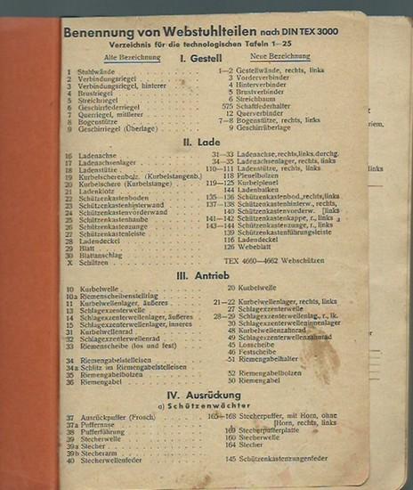 Chemnitz Textil-Schule (Herausgeber): Chemnitzer Textilschule. Bennennung von Webstuhlteilen nach DIN TEX 3000. Verzeichnis für die technologischen Tafeln 1 - 25. 0