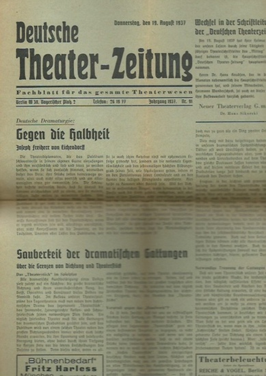 Theater-Zeitung, Deutsche. - Helmut Henrichs (Hauptschriftleiter): Deutsche Theater-Zeitung. Fachblatt für das gesamte Theaterwesen. Jahrgang 1937, Nr. 91 vom 10. August 1937. 0