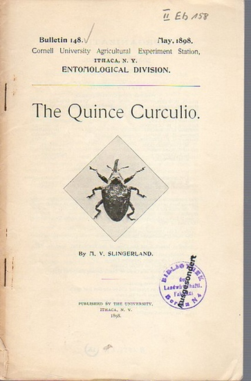 Slingerland, M. V.: The Quince Curculio. (= Bulletin 148, May, 1898. Cornell University Agricultural Experiment Station, Ithaca N. Y. Entomological Division). 0