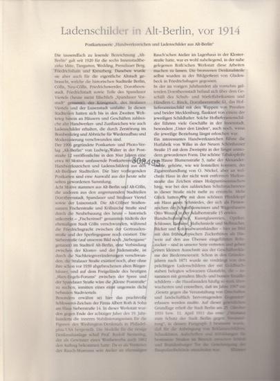BerlinArchiv herausgegeben von Hans-Werner Klünner und Helmut Börsch-Supan.- (Hrsg.): Alt-Berliner Ladenschilder. Sammlung von 15 s/w Postkarten (eine doppelt), vor 1914. ( = Lieferung BE 01231 aus Berlin-Archiv hrsg.v. Hans-Werner Klünner und Helmut B... 0