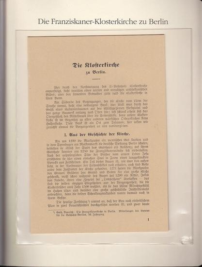 BerlinArchiv herausgegeben von Hans-Werner Klünner und Helmut Börsch-Supan.- (Hrsg.) / Schubring, Paul: Die Klosterkirche (der Franziskaner)zu Berlin, 1931. ( = Lieferung BE 01160 aus Berlin-Archiv hrsg.v. Hans-Werner Klünner und Helmut Börsch-Supan).