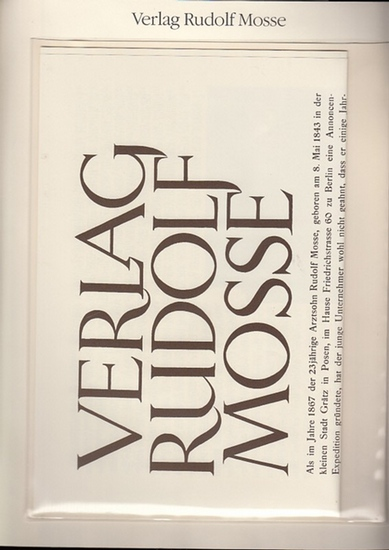"""BerlinArchiv herausgegeben von Hans-Werner Klünner und Helmut Börsch-Supan.- Verlag Rudolf Mosse (Hrsg.): Verlag Rudolf Mosse. Werbeprospekt. Beilage zur Zeitschrift """"Zeitungs-Verlag"""", Okt. 1928. ( = Lieferung BE 01157) aus Berlin-Archiv hrsg... 0"""
