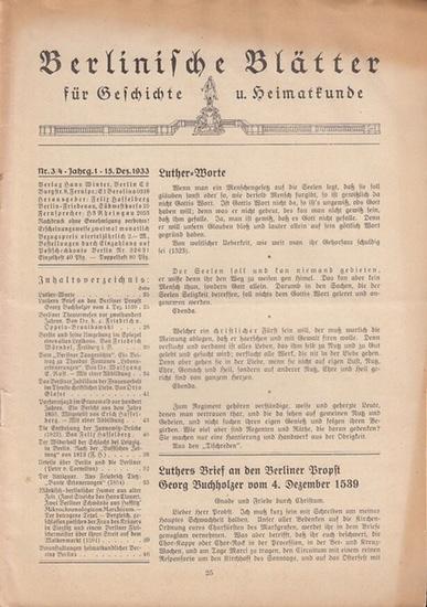 Berlinische Blätter. - Hasselberg, Felix (Hrsg.): Berlinische Blätter für Geschichte und Heimatkunde. Erster (1.) Jahrgang, Doppelheft 2 / 3 (15. Dezember 1933).