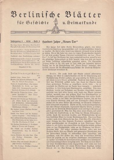 Berlinische Blätter. - Hasselberg, Felix (Hrsg.): Berlinische Blätter für Geschichte und Heimatkunde. Dritter (3.) Jahrgang 1936 mit No. 3.