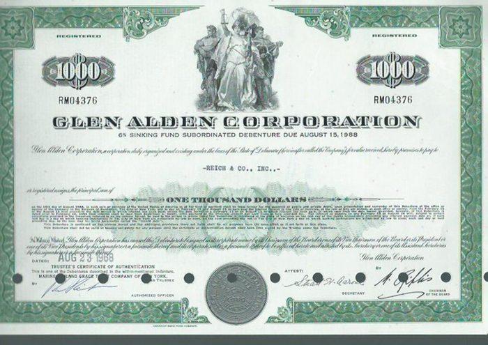 Glen Alden Corporation. - Aktie. - Glen Alden Corporation. 6 % sinking fund subordinated debenture due August 15, 1988. Aktie Nummer RM04376 über 1000 $ ausgestellt für Reich & Co., Inc. am 23. August 1968.
