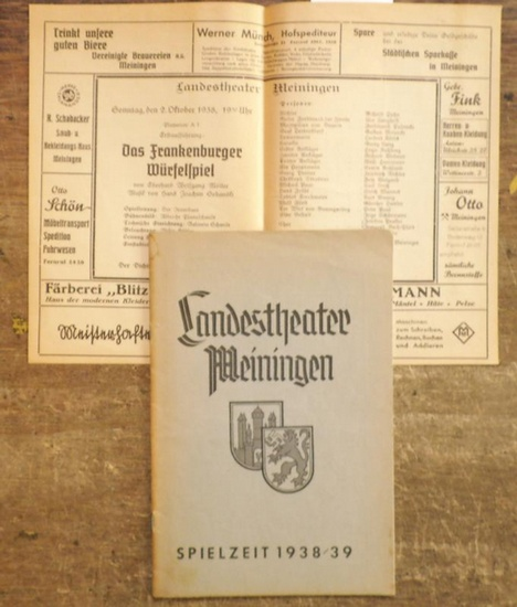 Meiningen. - Landestheater. - Ulrich Mannes (Spielleitung). - Eberhard Wolfgang Möller / Hans Knudsen / Hans Arnold über Henrik Ibsen / Rudolf Bach über Agnes Straub. - Landestheater Meiningen. Spielzeit 1938 / 1939, Heft 1. Besetzungsliste zu: Das Fra...