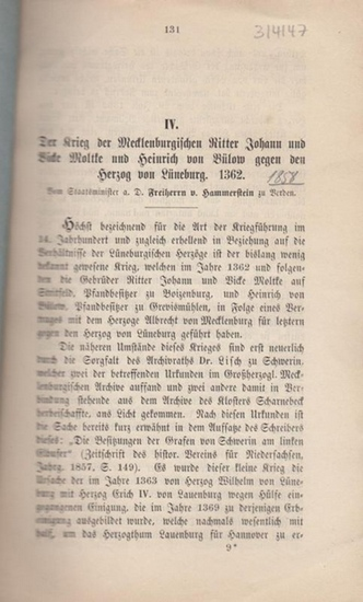 Hammerstein, Freiherr von : Der Krieg der Mecklenburgischen Ritter Johann und Vicke Moltke und Heinrich von Bülow gegen den Herzog von Lüneburg 1362.