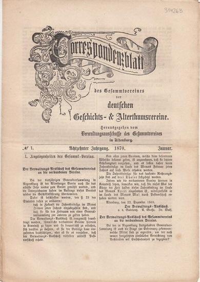 Correspondenzblatt des Gesammtvereines der deutschen Geschichts- & Alterthumsvereine - v. Quast / Dr. Hase (Hrsg.und Red.) - G.A. von Mülverstedt / F. Utz / K.Chl. Von Reitzenstein / B. Hartung / J. Kornerup / von Quast (Autoren): Correspondenzblatt de...